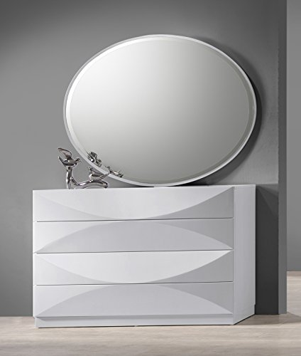 Chest Accent Oval (Milan Montreal Gloss White Dresser Accent Mirror)