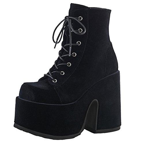 Heels-Perfect Gothic Stiefeletten, Damenstiefel, Plateau Boots Schwarz (Schwarz) Schwarz (Schwarz)