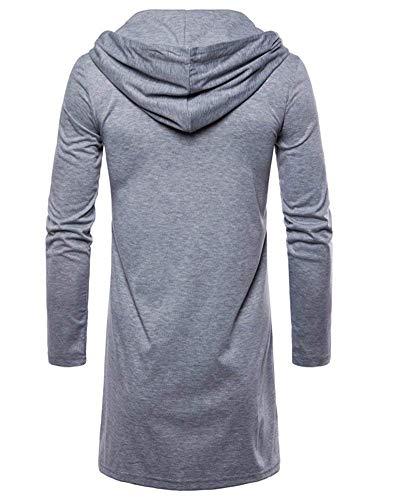 Jeune Homme Et Pour Veste shirt Grau Basique Longues T À Manches Capuche Hell Cardigan 8Hqaw0H