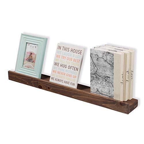 - Rustic State Wood Floating Wall Ledge Shelf Walnut Finish 30 Inches