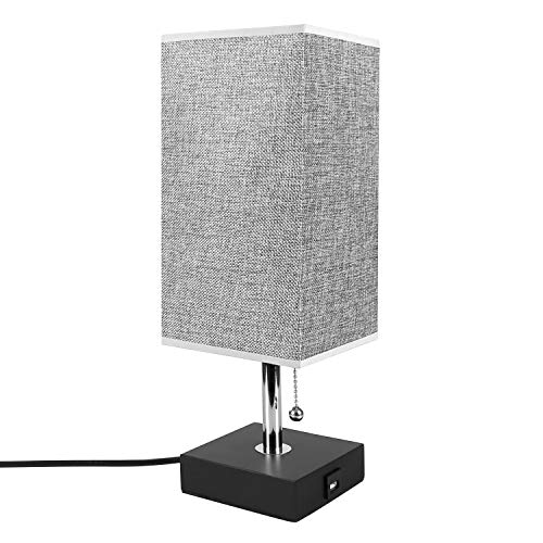 USB Table Desk Lamp, Grey Bedside Nightstand Lamp with USB Charging Port, Solid Wood Unique Lampshade,Convenient Pull Chain for Bedroom Living Room