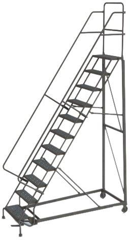 Tri-Arc KDHD111242 11-Step Heavy-Duty Steel Rolling Industrial & Warehouse Ladder with Grip Strut Tread
