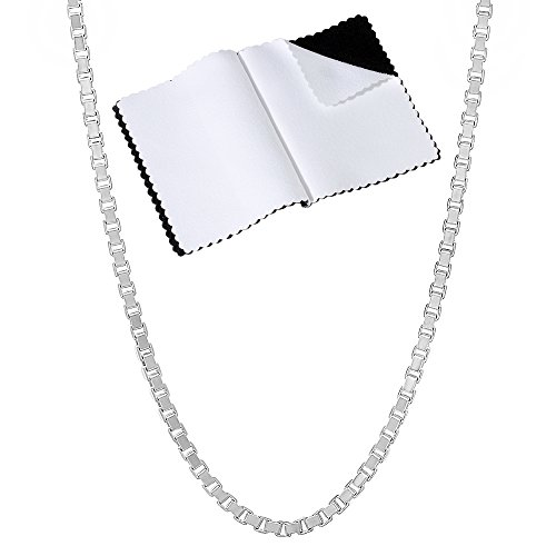 2mm .925 Sterling Silver Squared Venetian Box Link Chain Necklace, 20