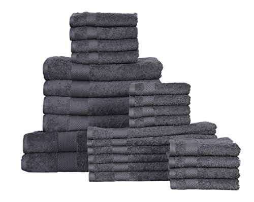 KT Towels Premium 24 piece Towel Set – 2 Bath sheet, 4 Bath Towels, 2 hand, 8 Wash, 4 tip towel 100% terry Cotton – Machine washable, Hotel Quality, Soft, Absorbent by Amber Spa Range (grey, 24pc set)