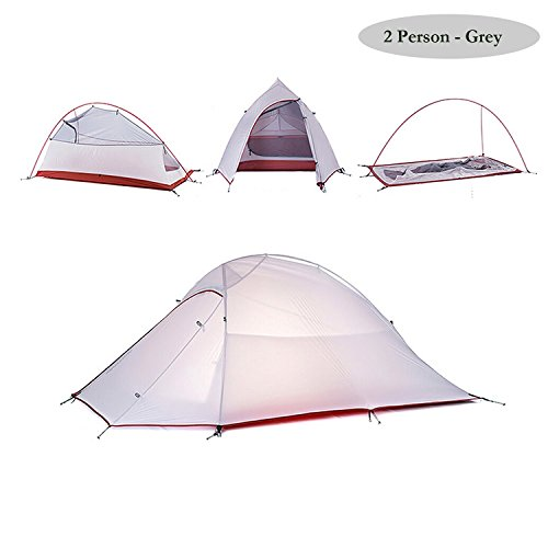 Naturehike Folding Camping Tent 2 Person 4 Seasons 20D Silicone Double Layer Ultralight Aluminum Rod Anti-UV Windproof Waterproof Free Offer a Groundsheet for Backpacking Hiking Travel Hunting