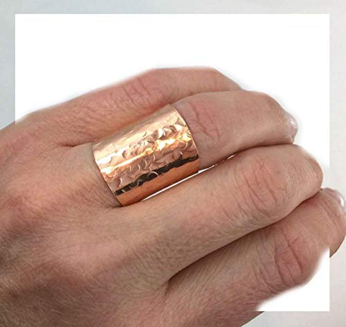 Cigar Band Ring - Copper Cuff Ring, Handmade Ring, Wide Band Ring, Cigar Ring, Copper Ring, Hammered Ring, Boho Ring, Wide Cuff Ring