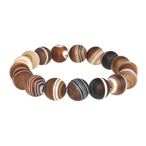 Jan Dee Natural Brown Grind Arenaceous Banded Agate Crystal Bracelet Round Bead Bangle (Brown Banded Agate)