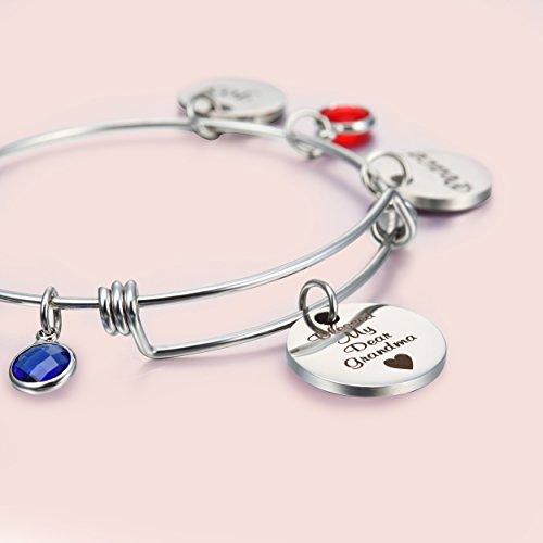 NBE Collection Grandma Bracelet With Birthstones, Blessed Grandma Jewelry Engraved Peace, Joy,Love Gifts for Grandmother (Grandma bracelet) by NBE Collection (Image #2)