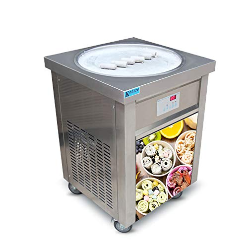 (US Snack Food Machine ETL 110V 55cm Single Round ice pan Fry ice Cream Machine Fried ice Cream Machine roll ice Cream Machine ice Cream roll Machine for Bars, Cafes,)