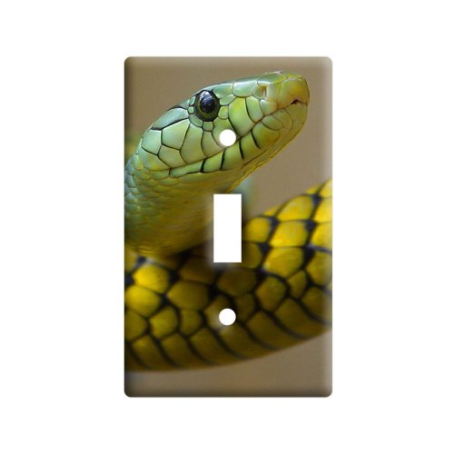 Graphics and More Green Snake - Plastic Wall Decor Toggle Light Switch Plate Cover