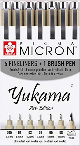 SAKURA PIGMA YUKAMA ® Art-Edition, 6 Rotuladores De Punta Fina Pigma Micron Y Un Rotulador De Punta De Pincel Negros