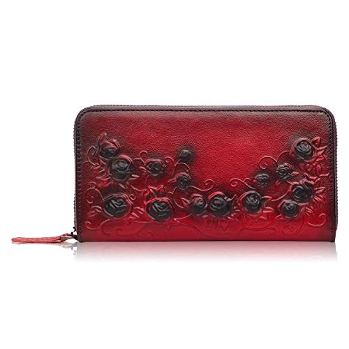 APHISON Designer Women's Leather Zipper Wallets Header Layer Cowhide Embossed Card Clutch Holder Purse (red)