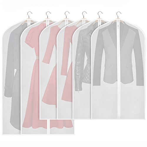 Zilink Hanging Garment Bag Lightweight Suit Bags Dust-Proof (Set of 6) with Study Full Zipper for Closet Storage and Travel [Upgraded Version] (Bag Garment Closet)