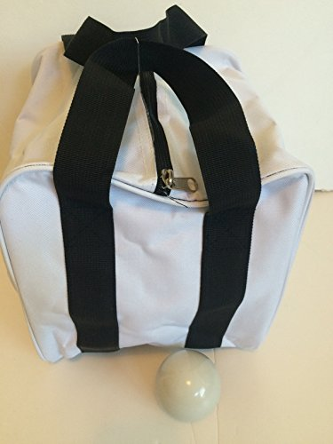 Unique Bocce Accessories Package - Extra Heavy Duty Nylon Bocce Bag (White with Black Handles) and White pallina by BuyBocceBalls