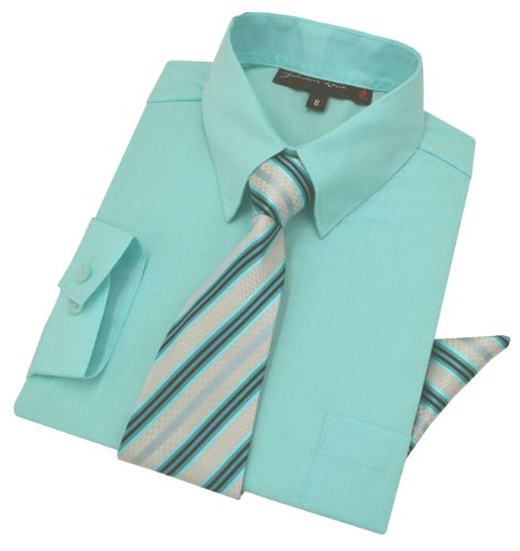 (Johnnie Lene Boys Dress Shirt with Tie and Handkerchief #JL26 (5, Hawaiian Aqua))
