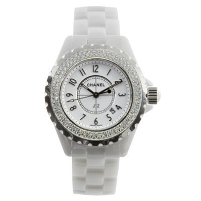Chanel J12 White Ceramic 33 mm. Diamond Bezel Quartz Watch - H0967