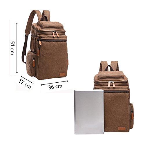 VRIKOO Mens Daypack Vintage Casual Canvas Hiking Travel Bag Rucksack School Laptop Backpack (Khaki) Blau