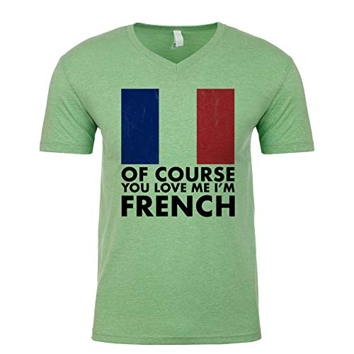 French Love Bread - of Course You Love Me, I'm French Men's V Neck Shirt Apple-Green Medium