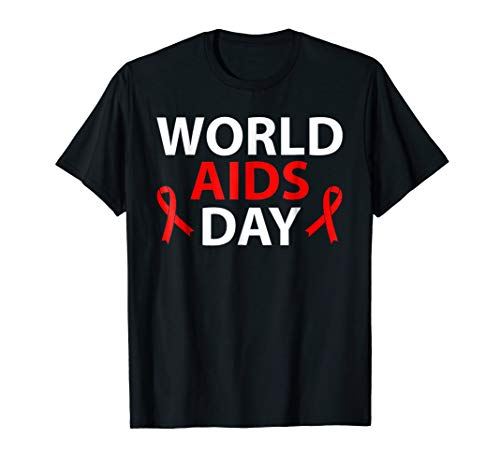 World Aids Day December 1 - Red Ribbon HIV T-Shirt -