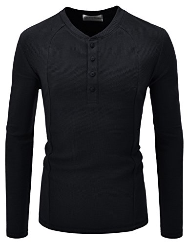 (NEARKIN (NKNKTE7001) Slim Cut Look Stretchy Waffle Airy Pattern Henley Tshirts BLACK US M(Tag size M))