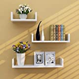 Kundi Floating Shelves Set of 3 with Modern U Shape and Durable Design, Simple Hanging Black (White)