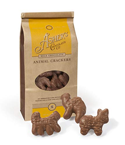 - Asher's Chocolate Company, Delicious Kosher Milk Chocolate Animal Crackers, Made from the Finest Chocolate, Small Batches, Family Owned Since 1892, Coffee Bag Style (6oz, Milk Chocolate)