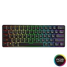 Teclado mecánico para juegos GK61 – 61 teclas multicolor RGB iluminado LED retroiluminado, teclado para juegos con cable, impermeable programable, para PC/Mac Gamer, Typist, Negro, Gateron Optical Brown