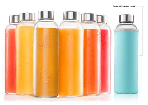 glass bottles 6 Pack 18oz - Includes 6 Sleeves - glass drinking bottles for Beverage and Juice - water bottle glass with stainless Steel Caps with - Leak-Proof Lid