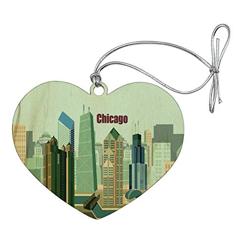 (GRAPHICS & MORE Chicago Hancock Building Willis Tower Cloud Gate Bean Heart Love Wood Christmas Tree Holiday Ornament)