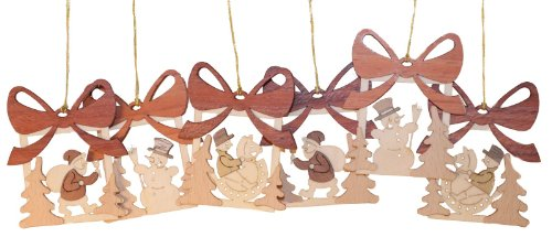 Christmas Present Motif German Wooden Ornament Set 6 Made in Germany Decoration