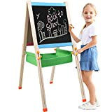 Joqutoys Wooden Standing Easel Adjustable Double Sided Childrens Drawing Board Whiteboard and Chalkboard Educational Art Easel for Kids
