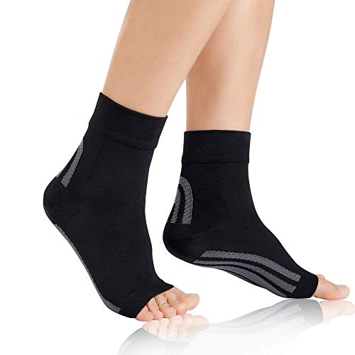 AODINI Plantar Fasciitis Socks, Ankle Brace Compression Support Sleeves & Arch Support, High Arch Support Foot Compression Sleeves for Men & Women (Black, Medium)