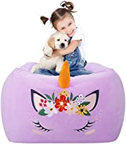 Aubliss Stuffed Animal Bean Bag Storage Chair, Beanbag Covers Only for Organizing Plush Toys, Turns into Bean