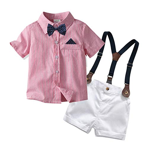 Carlstar Little Boys Gentleman Outfit Suits,Baby Boys Short Pants Set,Short Sleeve Shirt+Suspender Pants+Bow Tie 4Pcs (Pink, 3-4T/100)