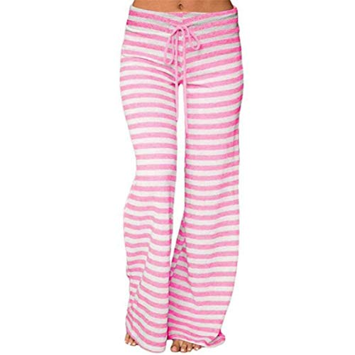 VEZAD Striped High Waist Elastic Loose Wide Leg Trousers Women Dancing Yoga Pants (Rise Shorts Rider Low)