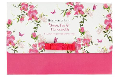 Heathcote & Ivory Sweet Pea and Honeysuckle Luxury Fragranced Drawer Liners, Set of 5 Fragranced Drawer Liners