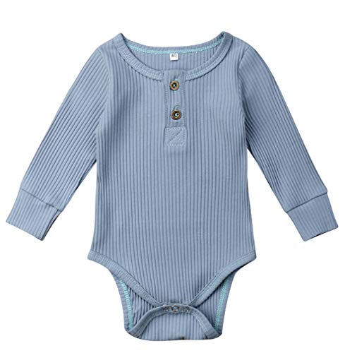 Emmababy Unisex Newbown Baby Girls Knitted Romper Long Sleeve Sweater Buttons Bodysuit Pajamas Top Fall Winter Clothing (Birth to 3 Months, Blue) (Infant Sleeve Boys Long Ribbed)