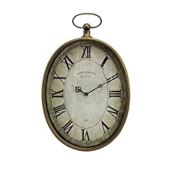 Imax 27476 Toledo Clock - Oversized Antique Pocket Watch, Vintage Inspired Timepiece, Handcrafted Clock for Bedroom, Livingroom, Study Room. Wall Clocks