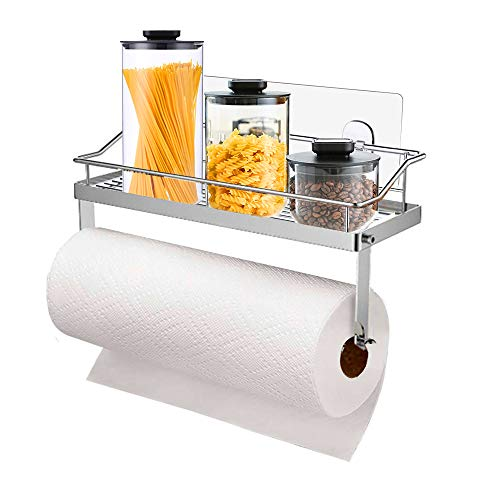 YCOCO Adhesive Paper Towel Holder Shelf,Wall Mounted Paper Towel Rack Basket for Kitchen,Shower Bathroom,Rustproof,No Drilling,SUS 304 Stainless Steel