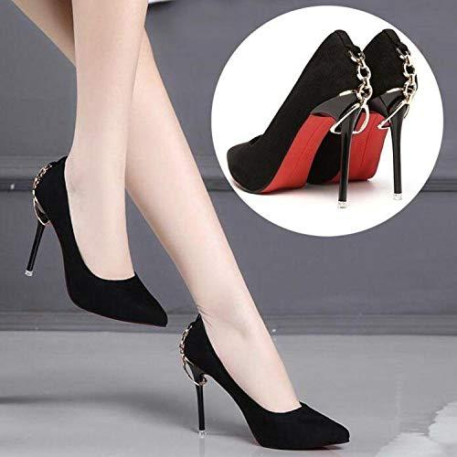 KPHY-Einzelne Schuhe Damenschuhe Joker Sexy Super 9Cm 9Cm 9Cm Ferse Schuhe Dünne Sohle Spitzen Wildleder Auf Qiuxie 38 Schwarz 842dac