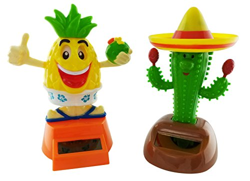 Solar Powered Dancing Party Pineapple and Cactus (Set of 2)]()