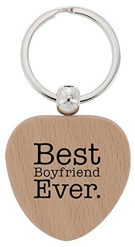 ThisWear Boyfriend Gifts Best Boyfriend Ever Wood Heart Keychain Key Tag Dating Anniversary