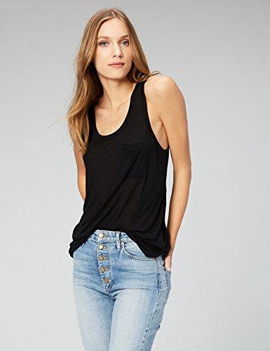 Daily Ritual Women's Super Soft Modal Semi-Sheer Pocket Tank Top, S, Black