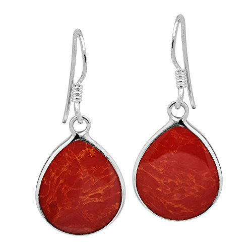Coral Inlay Earrings - Chunky Teardrop Reconstructed Red Coral Inlay .925 Sterling Silver Dangle Earrings