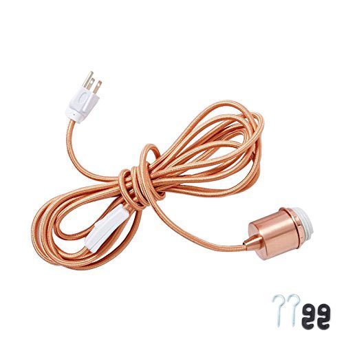 Eurus Home Cloth-wrapped cord In Copper Hanging Pendant Light Cord Kit-Plug-In Pendant Light Fixture - wrapped Cord with On/Off Switch, 3 conductors grounded Plug,UL listed,15FT (copper) by Eurus Home (Image #4)