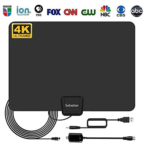 Sobetter TV Antenna - Digital HD TV Antenna 50-80 Miles Range Compatible 4K 1080P Free TV Channels Powerful Detachable Amplifier Signal Booster,Longer Coax Cable All TVs [2018 Upgraded]