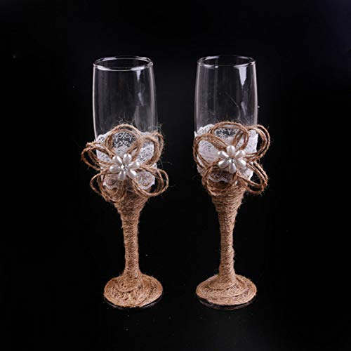 7 Oz Lace Pearl Hemp Rope Decoration Wine Glasses Handmade Bride and Groom Champagne Flutes for Toasting,Wedding Gifts,Wedding Favors,Couples Gifts,Wedding - Heart Flutes Pearl Toasting