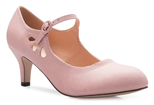 Heels Pu Low Rose Round OLIVIA Design Adorable Toe K Pumps Kitten Vintage Out Jane Side Mary Women's Unique Retro Shoes Cut Pink wwIx4