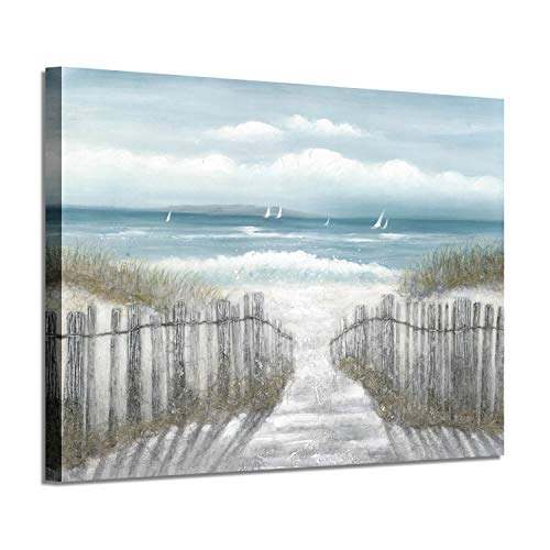Abstract Beach Picture Wall Art: Seascape Artwork Seaside Path Canvas Painting for Living Room (36'' x 24'' x 1 Panel) (Fence Canvas)