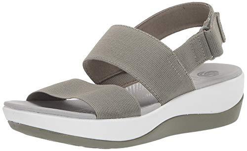 CLARKS Women's Arla Jacory Sandal, Olive Elastic Fabric, 100 M US ()